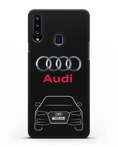 Чехол Audi A4 с номерным знаком силикон черный для Samsung Galaxy A20s [SM-A207FN]