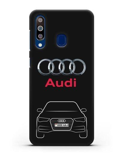 Чехол Audi A4 с номерным знаком силикон черный для Samsung Galaxy A60 [SM-A606F]