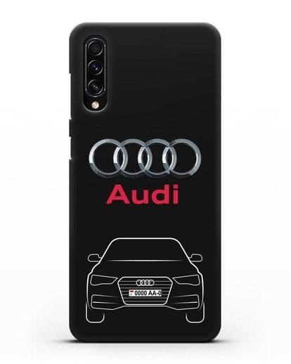 Чехол Audi A4 с номерным знаком силикон черный для Samsung Galaxy A70s [SM-A707F]