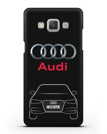 Чехол Audi A4 с номерным знаком силикон черный для Samsung Galaxy A7 2015 [SM-A700F]