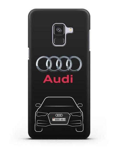 Чехол Audi A4 с номерным знаком силикон черный для Samsung Galaxy A8 [SM-A530F]