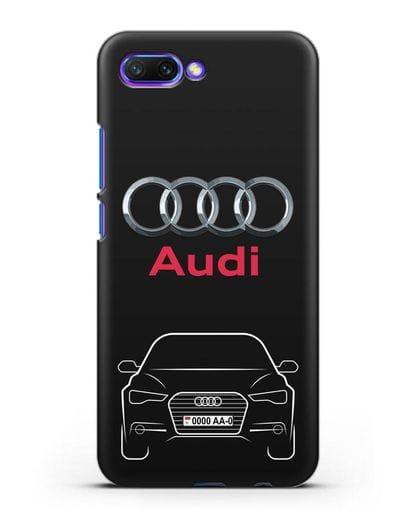 Чехол Audi A6 с номерным знаком силикон черный для Honor 10