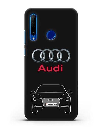 Чехол Audi A6 с номерным знаком силикон черный для Honor 10i