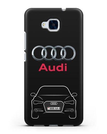 Чехол Audi A6 с номерным знаком силикон черный для Honor 5C