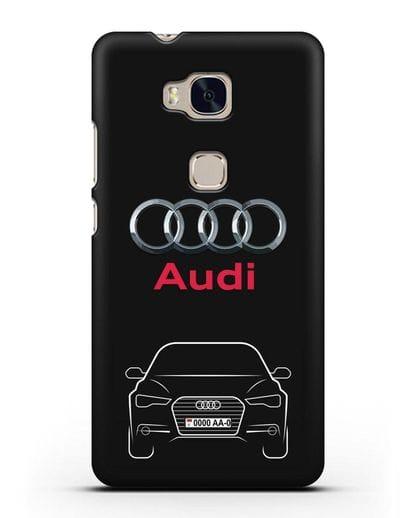 Чехол Audi A6 с номерным знаком силикон черный для Honor 5X