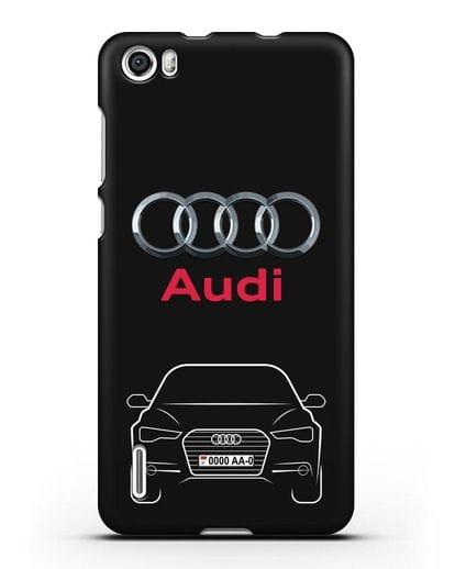 Чехол Audi A6 с номерным знаком силикон черный для Honor 6