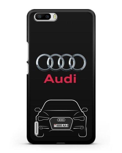 Чехол Audi A6 с номерным знаком силикон черный для Honor 6 Plus