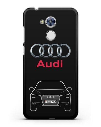 Чехол Audi A6 с номерным знаком силикон черный для Honor 6A