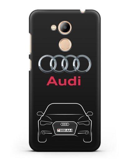 Чехол Audi A6 с номерным знаком силикон черный для Honor 6C Pro