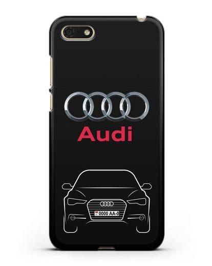 Чехол Audi A6 с номерным знаком силикон черный для Honor 7А