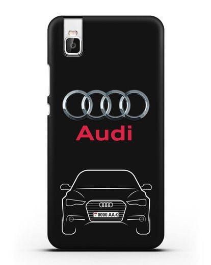 Чехол Audi A6 с номерным знаком силикон черный для Honor 7i