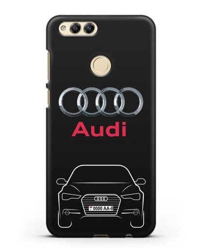 Чехол Audi A6 с номерным знаком силикон черный для Honor 7X
