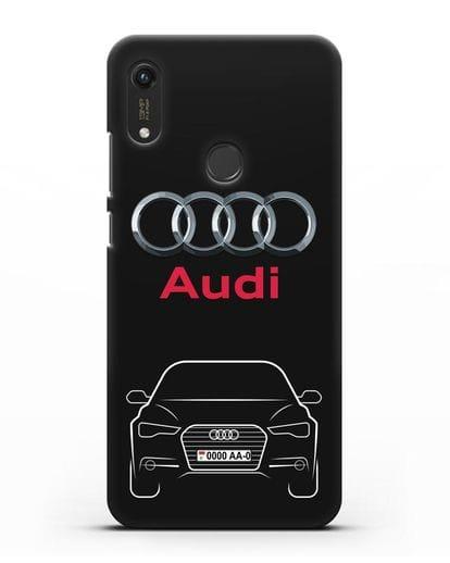 Чехол Audi A6 с номерным знаком силикон черный для Honor 8A Prime
