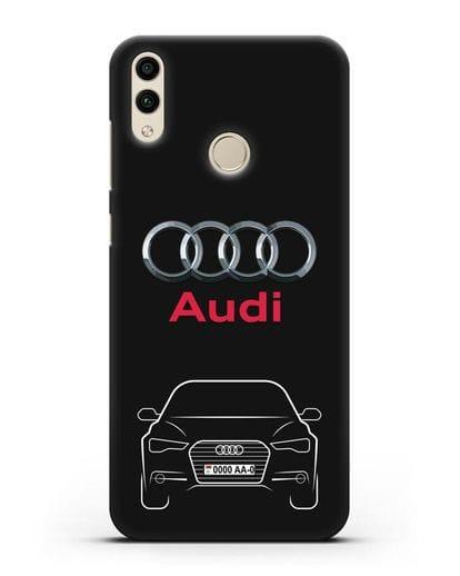 Чехол Audi A6 с номерным знаком силикон черный для Honor 8C