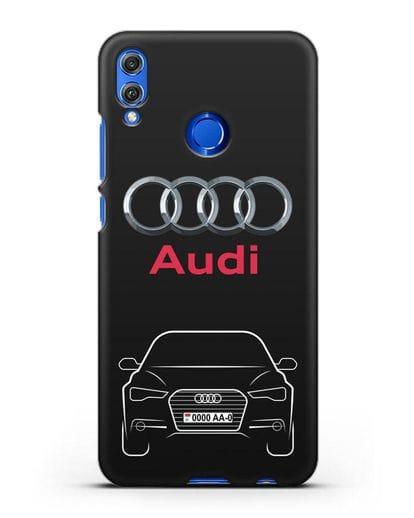 Чехол Audi A6 с номерным знаком силикон черный для Honor 8X