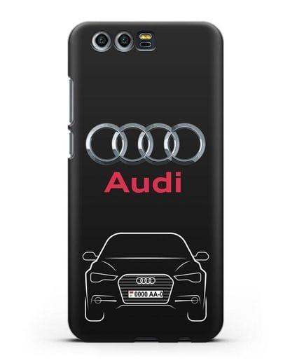 Чехол Audi A6 с номерным знаком силикон черный для Honor 9