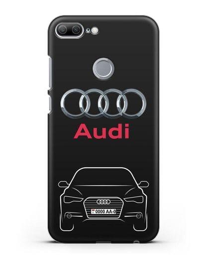 Чехол Audi A6 с номерным знаком силикон черный для Honor 9 Lite