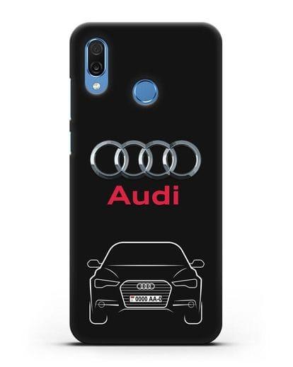 Чехол Audi A6 с номерным знаком силикон черный для Honor Play