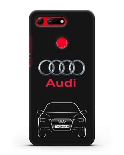 Чехол Audi A6 с номерным знаком силикон черный для Honor View 20