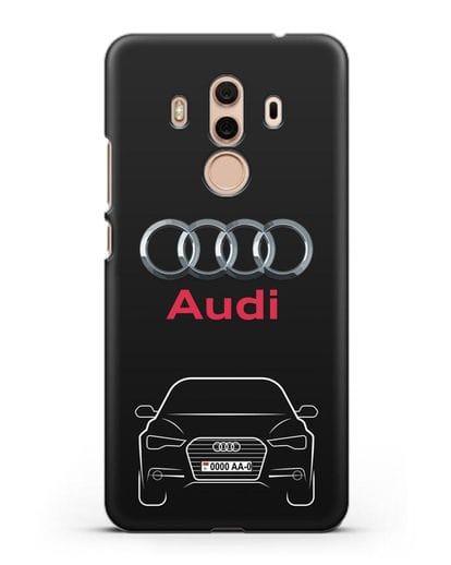 Чехол Audi A6 с номерным знаком силикон черный для Huawei Mate 10 Pro