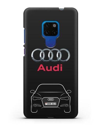 Чехол Audi A6 с номерным знаком силикон черный для Huawei Mate 20