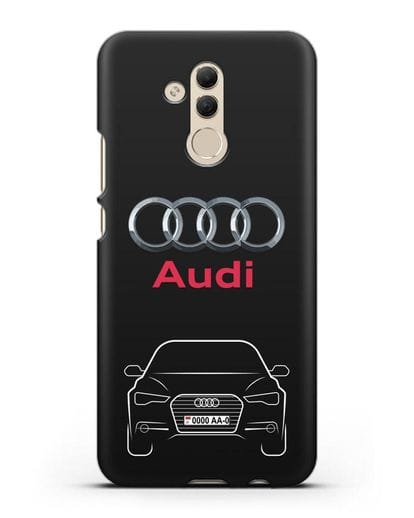 Чехол Audi A6 с номерным знаком силикон черный для Huawei Mate 20 Lite