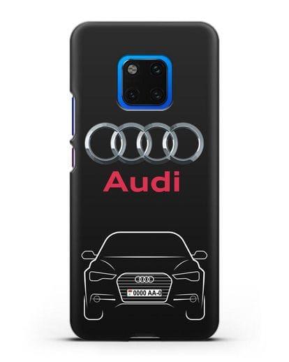 Чехол Audi A6 с номерным знаком силикон черный для Huawei Mate 20 Pro