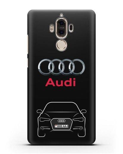 Чехол Audi A6 с номерным знаком силикон черный для Huawei Mate 9