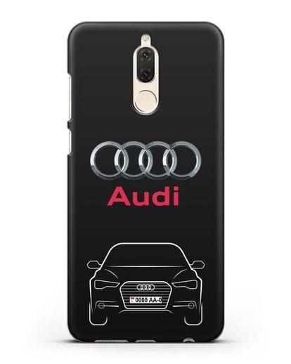 Чехол Audi A6 с номерным знаком силикон черный для Huawei Nova 2