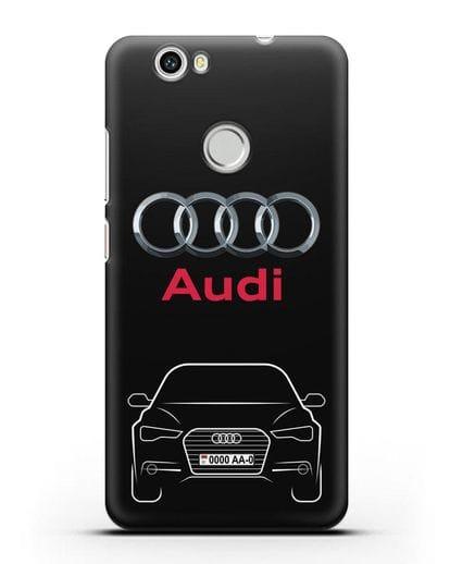 Чехол Audi A6 с номерным знаком силикон черный для Huawei Nova