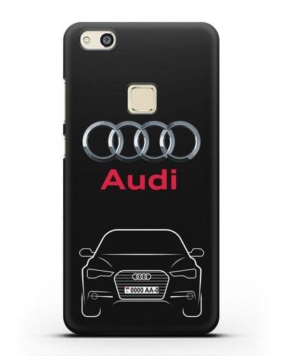 Чехол Audi A6 с номерным знаком силикон черный для Huawei P10 Lite