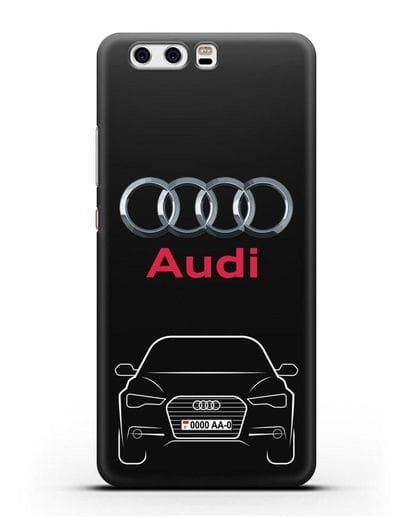 Чехол Audi A6 с номерным знаком силикон черный для Huawei P10 Plus