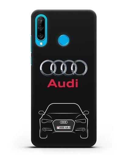 Чехол Audi A6 с номерным знаком силикон черный для Huawei P30 Lite