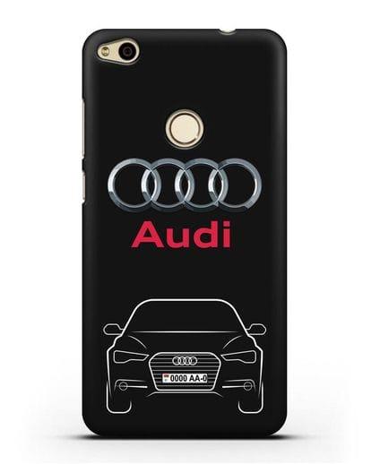 Чехол Audi A6 с номерным знаком силикон черный для Huawei P8 Lite 2017