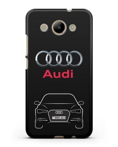Чехол Audi A6 с номерным знаком силикон черный для Huawei Y3 2017