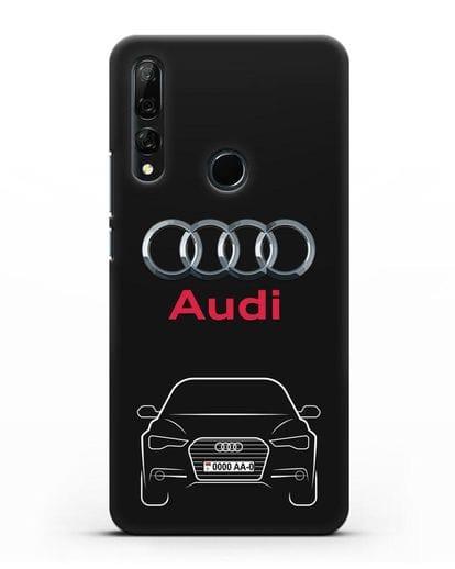 Чехол Audi A6 с номерным знаком силикон черный для Huawei Y9 Prime 2019