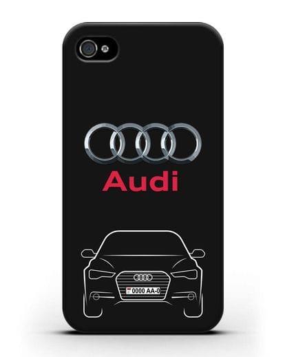 Чехол Audi A6 с номерным знаком силикон черный для iPhone 4/4s