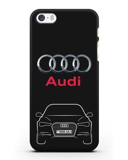 Чехол Audi A6 с номерным знаком силикон черный для iPhone 5/5s/SE