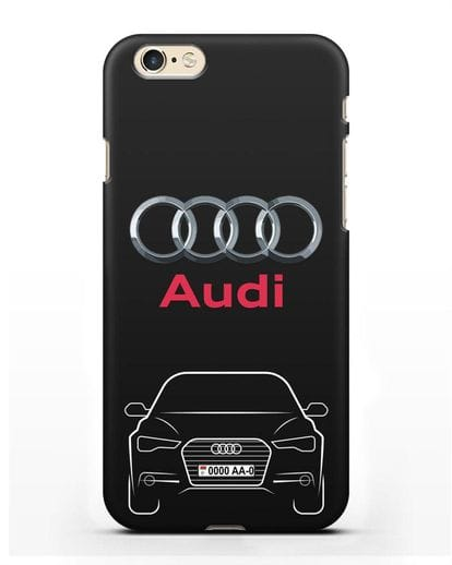 Чехол Audi A6 с номерным знаком силикон черный для iPhone 6s