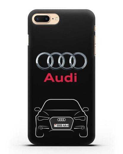 Чехол Audi A6 с номерным знаком силикон черный для iPhone 7 Plus