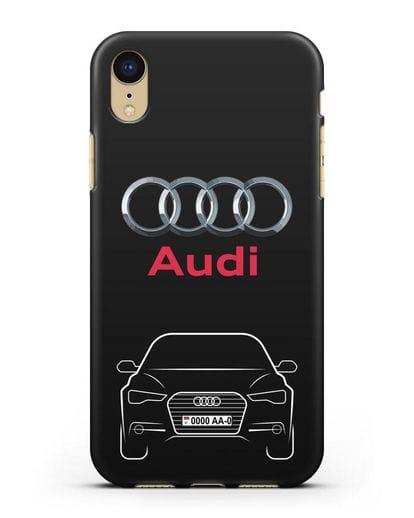 Чехол Audi A6 с номерным знаком силикон черный для iPhone XR