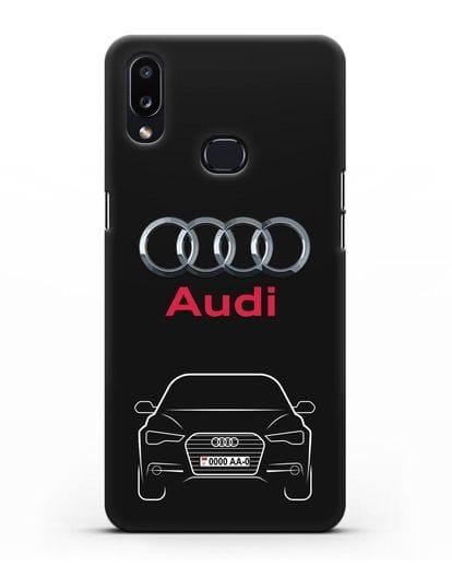 Чехол Audi A6 с номерным знаком силикон черный для Samsung Galaxy A10s [SM-F107F]