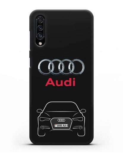 Чехол Audi A6 с номерным знаком силикон черный для Samsung Galaxy A30s [SM-A307FN]