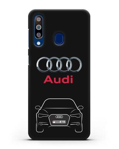 Чехол Audi A6 с номерным знаком силикон черный для Samsung Galaxy A60 [SM-A606F]