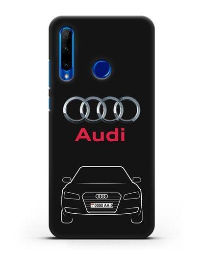Чехол Audi A8 с номерным знаком силикон черный для Honor 10i