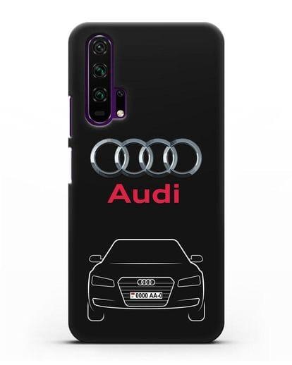 Чехол Audi A8 с номерным знаком силикон черный для Honor 20 Pro