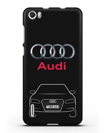 Чехол Audi A8 с номерным знаком силикон черный для Honor 6