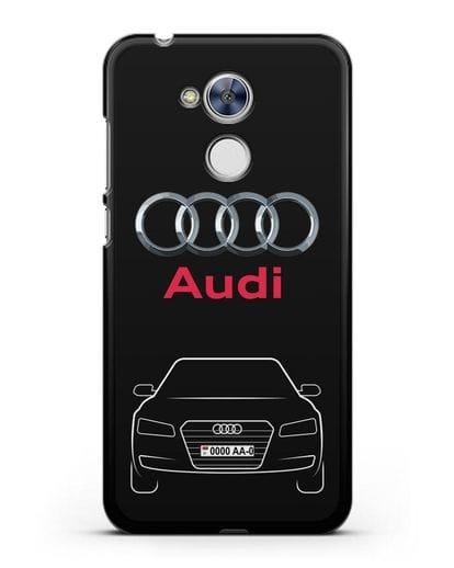 Чехол Audi A8 с номерным знаком силикон черный для Honor 6A