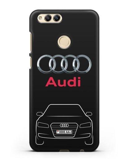 Чехол Audi A8 с номерным знаком силикон черный для Honor 7X