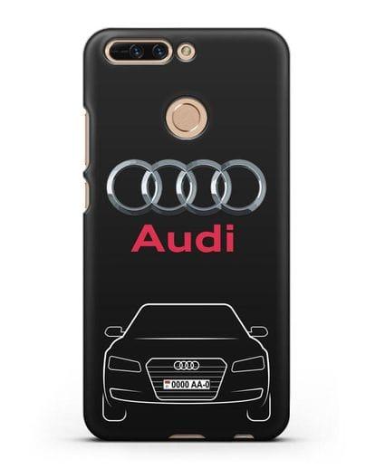 Чехол Audi A8 с номерным знаком силикон черный для Honor 8 Pro